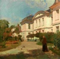 moine dans un jardin devant un monastrère by charles-marie dulac