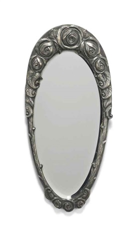 Smalle Kast Wit.An Edgar Brandt 1880 1960 Small Silvered Bronze Oval Mirror Cast
