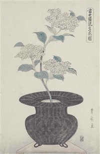 ikebana arrangements from the series tosei shoryu shoka zue (paintings of contemporary flower arrangements) (4 works) (oban tate-e) by utagawa toyohiro
