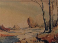 along the river, fall by alfred crocker leighton