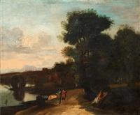 vidsträckt landskap med vandrande figurer by herman van swanevelt