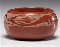 redware pottery bowl by tony da