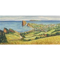 le village de perce, gaspesie, p.q. by fleurimond constantineau
