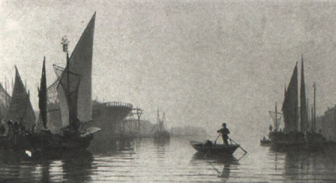 italian harbour scene by eugenio cecchini prichard
