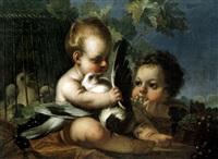 zwei kinder mit tauben by joseph melling
