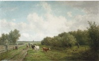 landschap in de omgeving van haarlem: on a country path by willem vester
