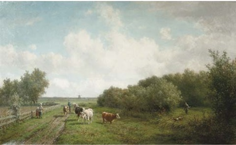 landschap in de omgeving van haarlem on a country path by willem vester