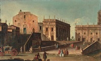 view of santa maria in aracoeli and the campidoglio, rome by jacopo fabris