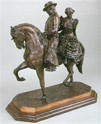 jinete cartujano y muchacha con traje de faralaes a caballo by eduardo soriano menendez