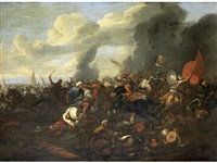 a cavalry skirmish between turks and christians by antonio calza