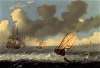bateaux par grand vent by andries van artvelt (ertvelt)