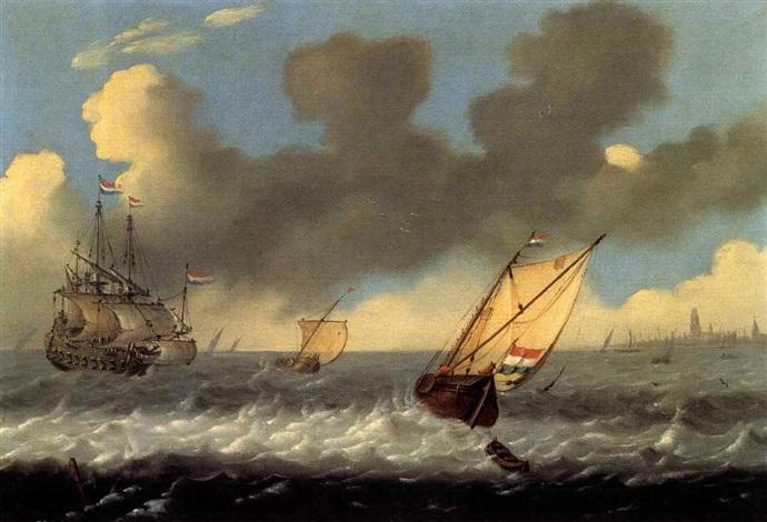bateaux par grand vent by andries van artvelt ertvelt
