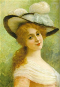 flicka i fjäderprydd hatt by antonio torres