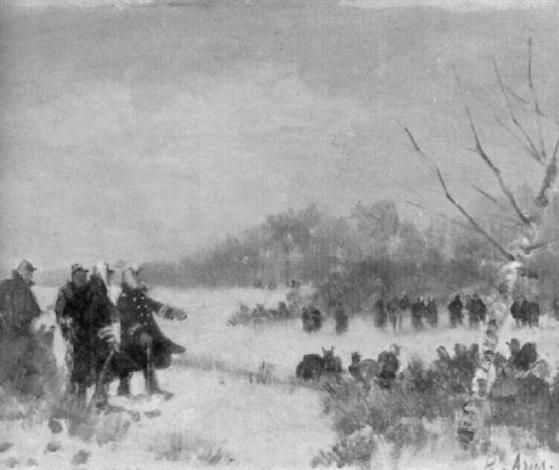 soldaten in verschneiter landschaft by louis raoul arus