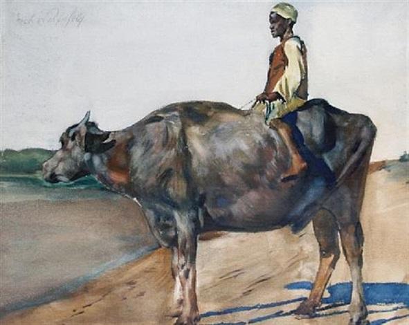a boy on a water buffalo by erich wolsfeld