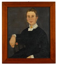portrait of a lady (+ portrait of a gentleman; pair) by john james trumbull arnold