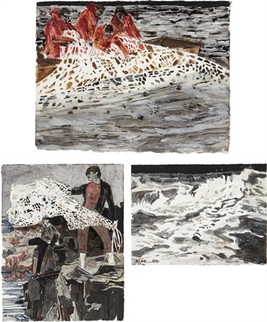 three works: i) the future of romance; ii) empty waters; iii) reaching out (3 works) by hernan bas