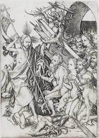 die höllenfahrt, pl.11 (from passionsfolge) by martin schongauer