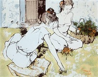 two young women sitting on the lawn by bernard dufour