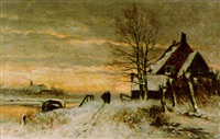winter landscape with figures returning home at dusk by gelaidus johannes roesmeester