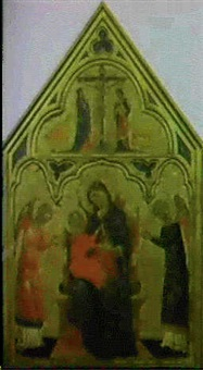 madonna in trono col bambino e angeli, sormontato da una crocifissione by paolo veneziano