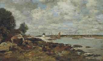 plougastel le rivage au bord de la baie by eugène boudin