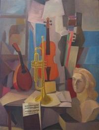 still life of musical instruments by carl lindborg