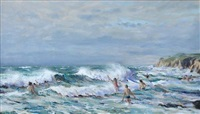 surf at nanzijal, cornwall by john alford