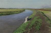 bord d'un canal, près de naples by gustave caillebotte