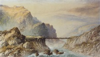 a highland landscape with figures crossing a bridge over a river by edwin earp