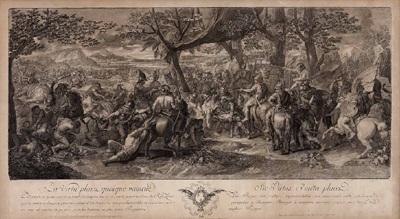 kampfszene aus der alexanderschlacht after chalres le brun by pierre picault