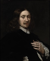 portrait of a gentleman in a black costume with a white chemise by jacob oost the elder