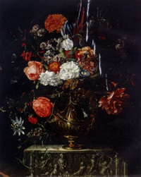 roses, carnations, iris, morning glory and other flowers in a gilt bowl on a sculpted ledge by coenraet (conrad) roepel