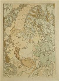 jeune fille à la tresse dans un décor de feuillages by firmin bouisset