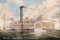 the steamboat bayou belle on the mississippi river (decorated for the american centennial of 1876?) by american school-southern (19)