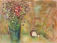 nature morte au bouquet de fleurs et au champignon by etienne cournault