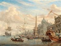 hamnbild med figurstaffage by abraham jansz storck