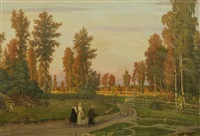 peasants returning home at sunset by mikhail markianovich germanshev