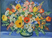 still life of flowers in a vase by gerhard batha
