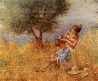 deux jeunes filles dans les blés by claude fossoux