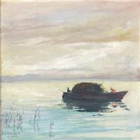chiemsee, ansicht mit boot by anton müller-wischin