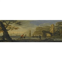 an italianate coastal landscape with fishermen hauling in their nets by jan de momper