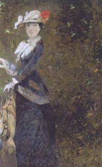 femme à l'éventail by octave alfred saunier