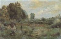 sommerliche landschaft mit spaziergänger by jules louis badel