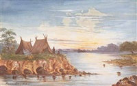 louisiana landscape with two tents and indians on a river bluff by alphonse j. gamotis