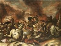 a cavalry battle (+ a siege; pair) by antonio calza