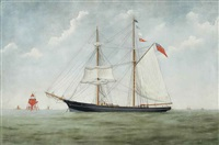 the british topsail schooner raven anchored off a red lighthouse by john fannen