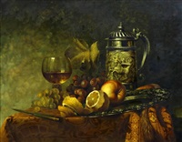 still life of fruit, wine glass and tankard by gyula andreas bubárnik