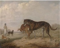 "sir thomas aston with his greyhounds ""vixen"", ""crown prince"" and ""cygnet"", in an extensive landscape by john barwick"