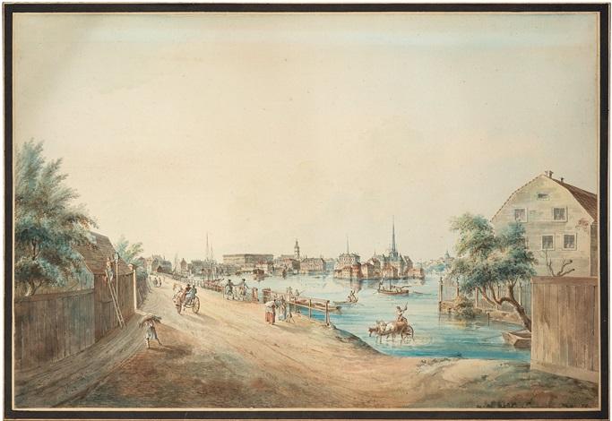 utsigt af stockholm tagen från kungsholmen vue of stockholm from kungsholmen by johan fredrik martin